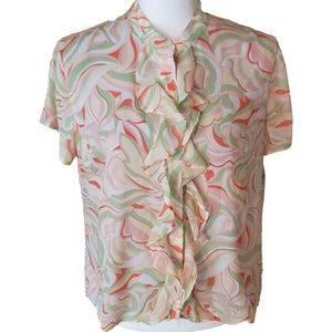 Evan Picone Petite 12P Wavy Abstract Floral Blouse